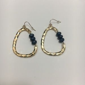 Ashely Stewart Gold with Navy Beads Earrings